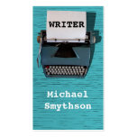 Writer Author Retro Typewriter on Blue Wood Pack Of Standard Business Cards