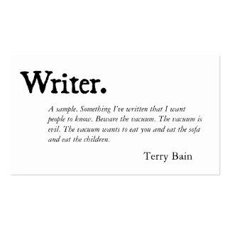 Writer Black White Business Card