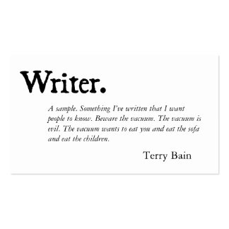 Writer Black White Pack Of Standard Business Cards