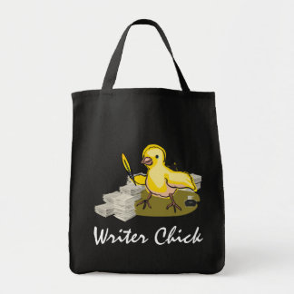 Writer Chick with Paper, Feather Quill and Ink Tote Bag