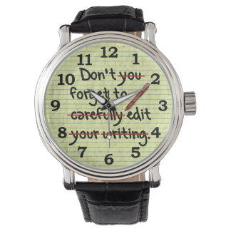 Writer Editor Editing Reminder Note Watch