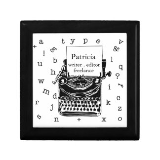Writer Freelance Retro Vintage Typewriter Small Square Gift Box