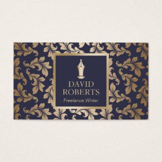 Writer Luxury Blue & Gold Damask Pattern