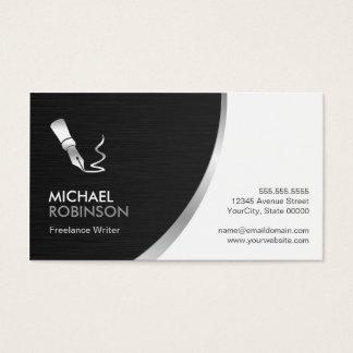 Writer Pen Logo - Modern Professional Silver Metal Business Card