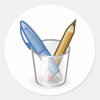 Writer Pen Pencil Cup Round Sticker