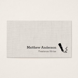 Writer Pen Symbol - Simple Elegant Linen Look Business Card