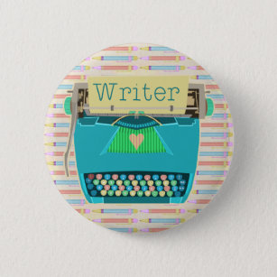 Writer Typewriter Cute Retro Modern Aqua Blue 6 Cm Round Badge