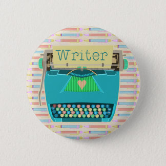Writer Typewriter Cute Retro Modern Aqua Blue 6 Cm Round Badge