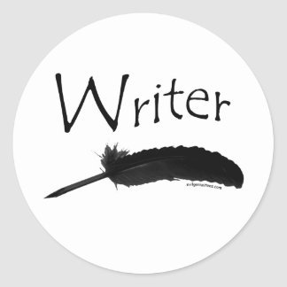 Writer with quill pen round stickers