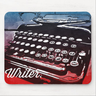 Writer with Typewriter Blue Red Pop Art Mouse Pad