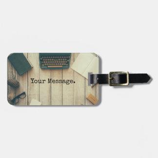 Writer writing desk retro typewriter luggage tag