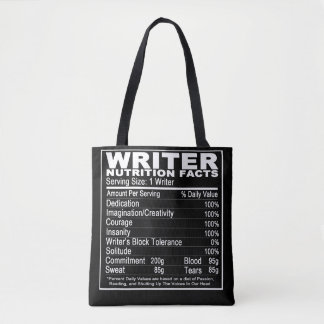 Writer's Nutrition Facts Tote Bag