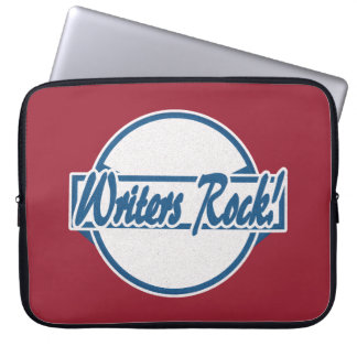 Writers Rock Circle Logo Blue Grunge Laptop Sleeve