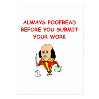 writing joke postcard