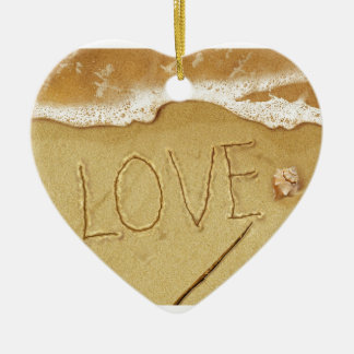 Writing Love In The Sand Ceramic Heart Decoration