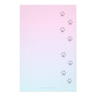 Writing Paper with Cat Footprints Stationery Paper
