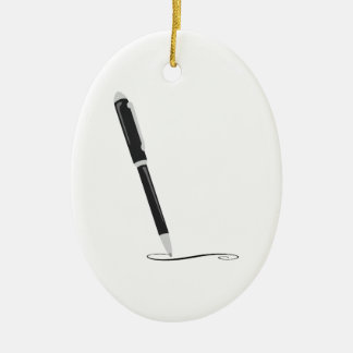Writing Pen Ceramic Oval Decoration