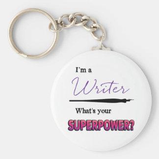 Writing Superpower Button Keychain