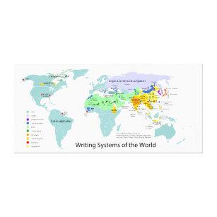 Map of world canvas prints wall art zazzle writing systems map of the world chart canvas print gumiabroncs Choice Image