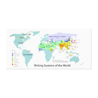 Writing Systems Map of the World Chart Canvas Print