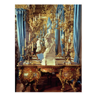 Writing table and statue of Louis XV Postcard