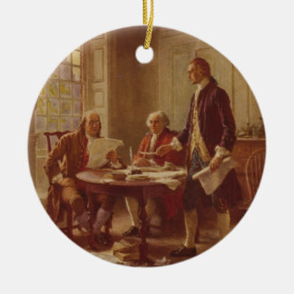 Writing the Declaration of Independence by Ferris Ceramic Ornament