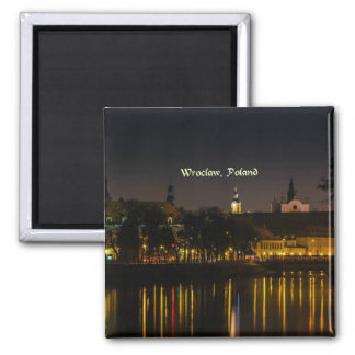 Wroclaw, Poland cityscape photograph, twilight Magnet