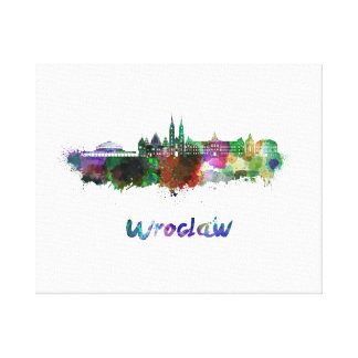 Wroclaw skyline in watercolor canvas print