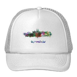 Wroclaw skyline in watercolor cap