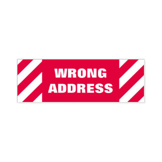 """""""WRONG ADDRESS"""" Self-Inking Rubber Stamp"""
