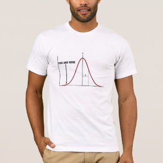 "Wrong end of the bell curve T-shirt ""you are here"""