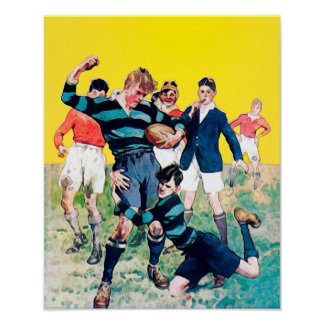 Wrong Tackle - Vintage Rugby Watercolour Print