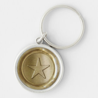 WSM - Gold Star - Silver-Colored Round Key Ring
