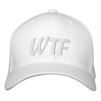 WTF 1337 Baseball hat White on White Embroidered Hats
