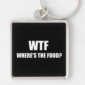 WTF Wheres The Food Silver-Colored Square Key Ring