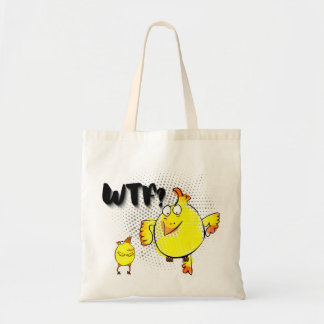 """""""WTF?"""" with yellow doodle chicken character"""