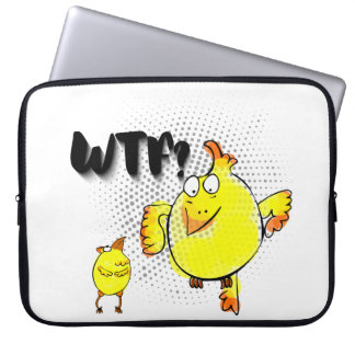 """""""WTF?"""" with yellow doodle chicken character Laptop Sleeve"""
