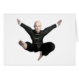 Wu Shu form with flying kick to the front Card