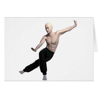 Wu Shu form with legs split and looking right Card
