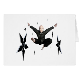 Wu Shu with flying kick to the front and Shuriken Card