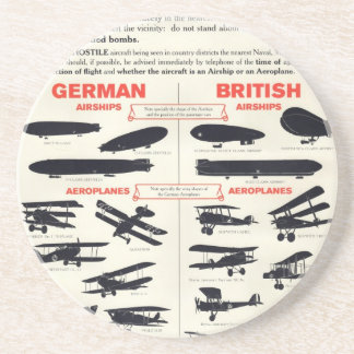 WW1 Aircraft Recognition Poster Coaster