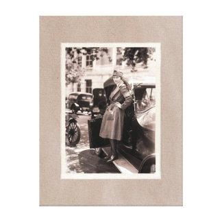WW1 Red Cross Nurse with Vintage Car Canvas Print
