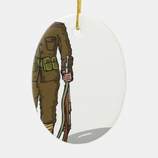 WW1 soldier Marine Sketch Ceramic Ornament