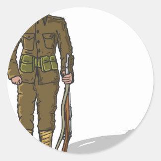 WW1 soldier Marine Sketch Classic Round Sticker