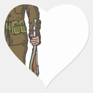 WW1 soldier Marine Sketch Heart Sticker