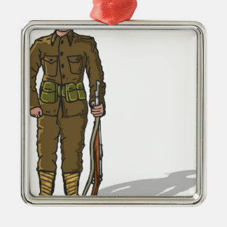WW1 soldier Marine Sketch Metal Ornament
