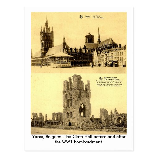 WW1 - Ypres, the Cloth Hall Post Card