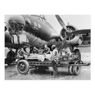WW2 Airplane and Crew: 1940s Postcard