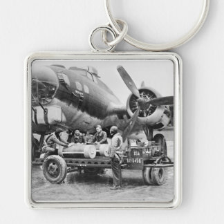 WW2 Airplane and Crew: 1940s Silver-Colored Square Key Ring
