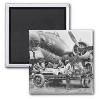 WW2 Airplane and Crew: 1940s Square Magnet